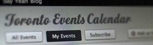 Toronto events calendar interface