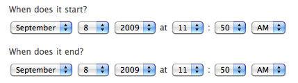 Current date picker UI