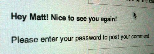 Password greeting message