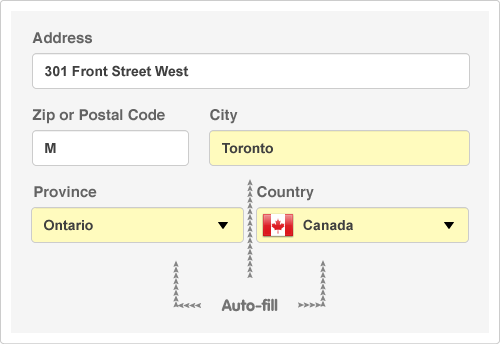 Canadian form fields that can be autofilled