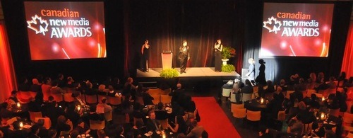 The stage at the Canadian New Media Awards