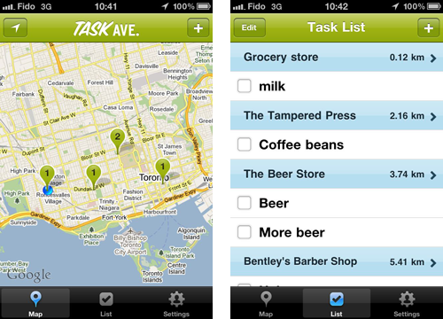 Details from Task Avenue app
