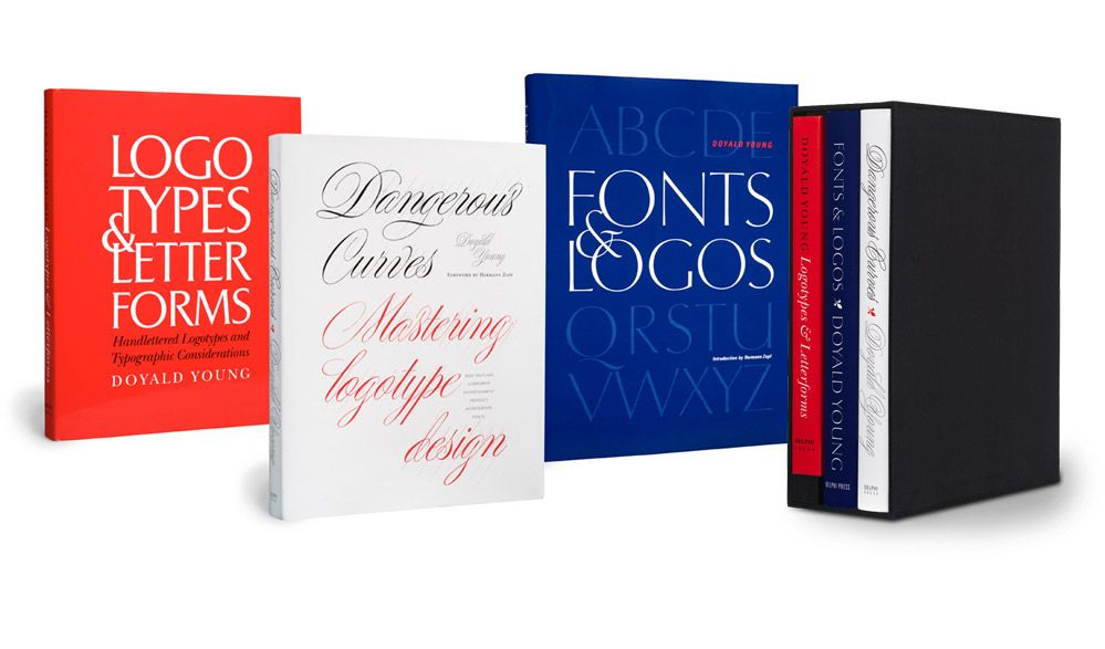 A collection of typography books by Doyald Young.