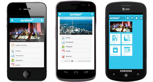 Tourism Toronto app interface