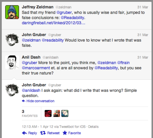Anil and Zeldman on Twitter