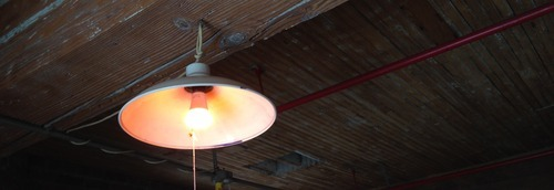Smart light hanging from ceiling