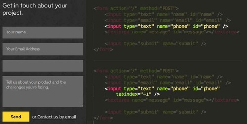 Form page code with form shown on the left