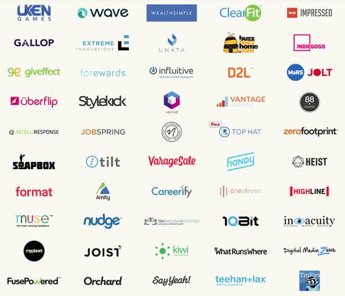 Grid of startup logos