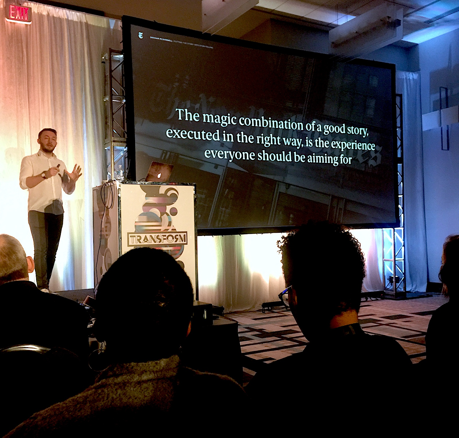 Graham McDonnell speaking about best storytelling practices at FITC 2018.