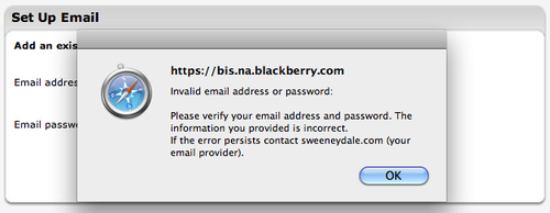 Invalid email warning on Blackberry