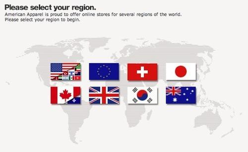 American Apparel regions