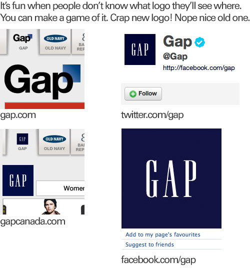 The Gap's social presence keeps changing the logo