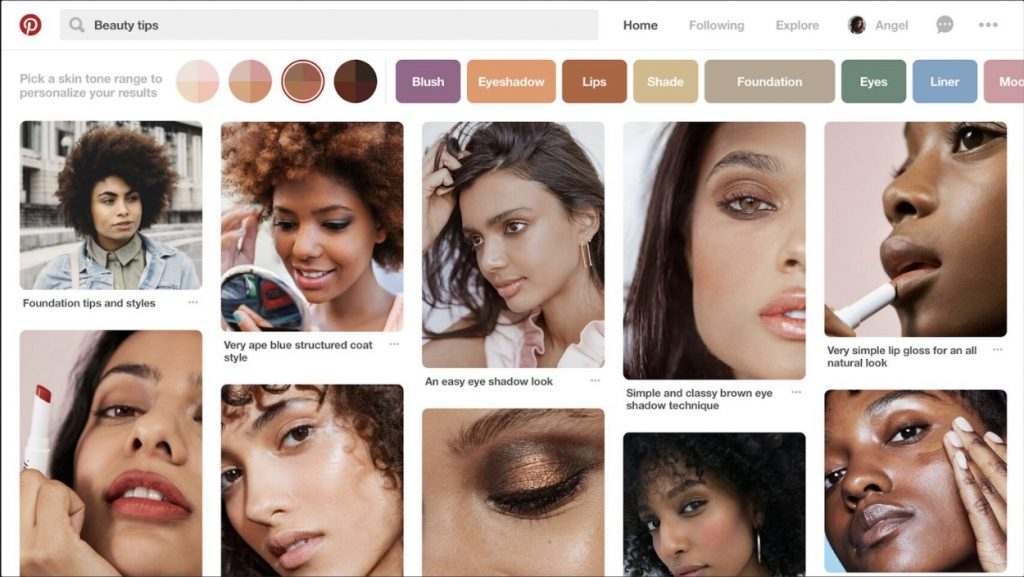 A makeup search on Pinterest's website reveals the option to filter results by skin tone.