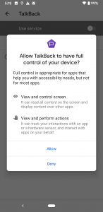 Pop up modal showing the options to allow or deny enabling TalkBack on a device